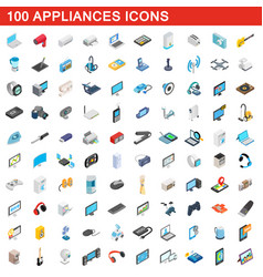 100 appliances icons set isometric 3d style vector image