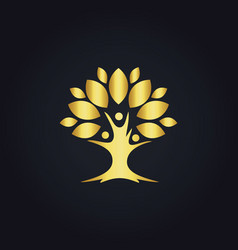 Tree botany life nature gold logo vector