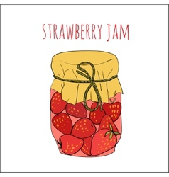 Jar of strawberry jam isolated on white vector
