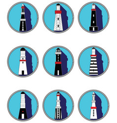 Lighthouses icons in knottet circle vector