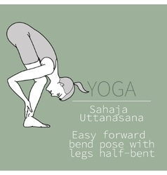 Sahaja uttanasana easy forward bend pose with vector