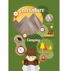 Explorer camping icons background vector
