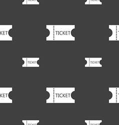 Ticket icon sign seamless pattern on a gray vector