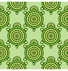 Pattern decorative turtle on the white background vector