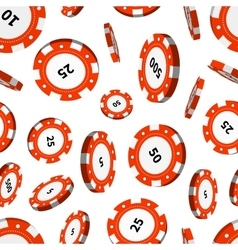 Red casino chips in air on white seamless pattern vector