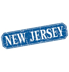 New jersey blue square grunge retro style sign vector