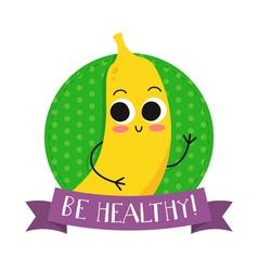 Banana cute fruit character bagde vector image vector image