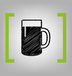 Beer glass sign black scribble icon in vector