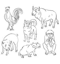Bull cock dog monkey pig rat vector