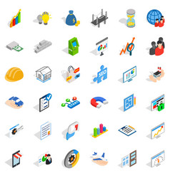 Capital icons set isometric style vector
