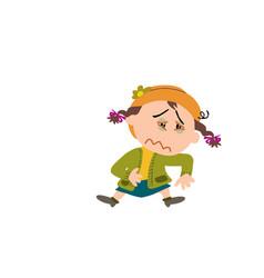 cartoon character of a sick girl vector image vector image