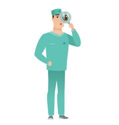 Caucasian doctor with magnifying glass vector