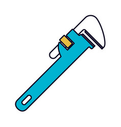 Color sections silhouette of pipe wrench vector