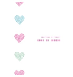 Colorful polka dot textile hearts vertical frame vector