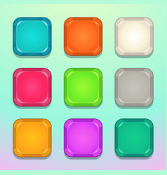 colorful square buttons set vector image