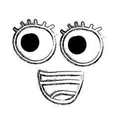 Comic face kawaii styke vector