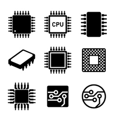 CPU Microprocessor and Chips Icons Set vector image vector image