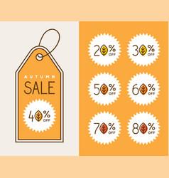 Creative autumn sale tag design vector