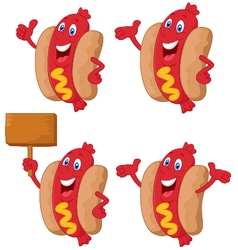 Cute sausage cartoon vector
