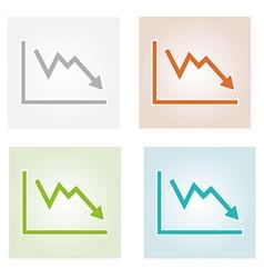 Decreasing graph icons vector