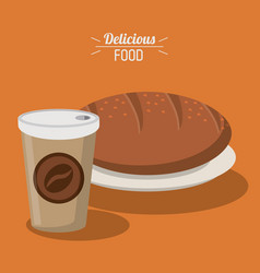 Delicious food bread whole paper coffee cup vector