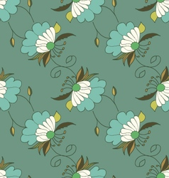 Green hand drawn seamless pattern with flowers vector image
