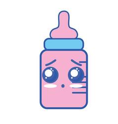 Kawaii cute surprised feeding bottle vector