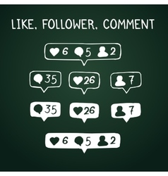 Like follower comment doodle icons on chalkboard vector image vector image
