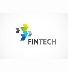 logo for fintech and digital finance industry vector image vector image
