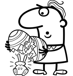 man with easter eggs and bunny cartoon vector image