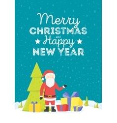 Merry christmas santa claus in christmas snow vector