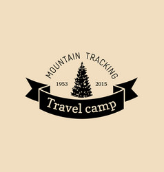 Mountain camp logo tourist sign with hand vector