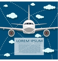 Passenger air transportation banner with plane vector image