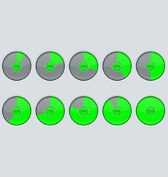 Progress indicator green round loading icon vector