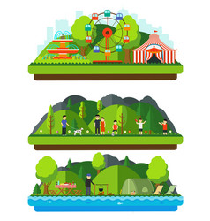 recreation park with mountains and hills vector image vector image
