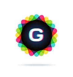 Retro bright colors logotype letter g vector