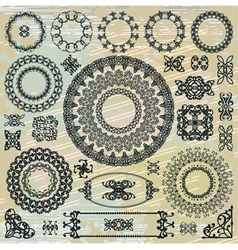 round floral pattern elements collection vector image