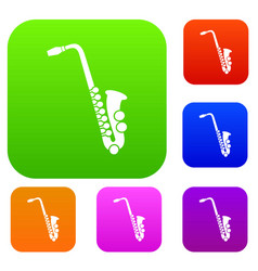 saxophone set collection vector image