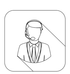 Square shape with silhouette men operator with vector