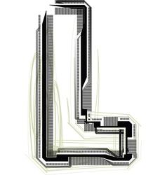 Technological font letter l vector