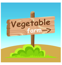 Vegetable farm wooden road pointer flat vector
