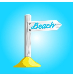 White wooden sign pointing to the beach vector