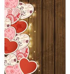 wooden hearts2 vector image vector image