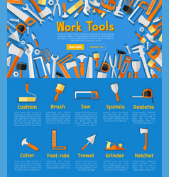 Work tools poster for hardware store design vector