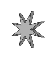 Eight pointed star icon black monochrome style vector
