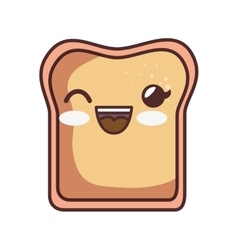 Bread toast kawaii style isolated icon vector