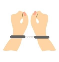 Hands in handcuffs icon flat style vector
