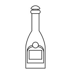 Bottle champagne plastic cork outline vector