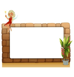 A blankboard on a wall with a fairy and a pot of vector image
