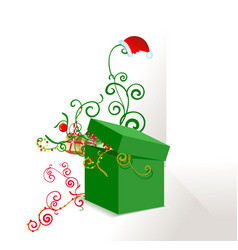 Green box ornate vector